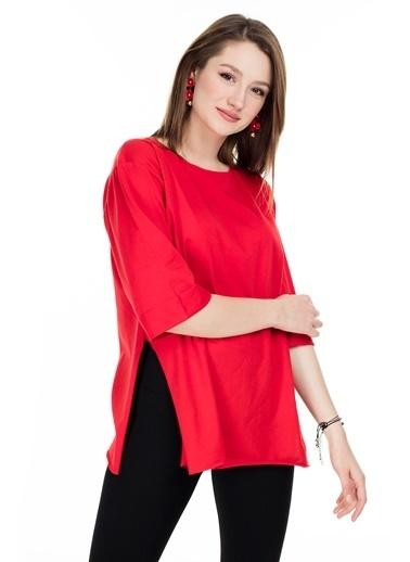Lela Lela Oversize Bisiklet Yaka Kadın T Shirt 5411073 Kırmızı